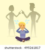 a little boy crying  cursing... | Shutterstock .eps vector #495261817