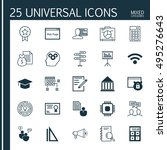 set of 25 universal icons on... | Shutterstock .eps vector #495276643