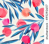 seamless floral pattern on... | Shutterstock . vector #495292657