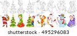 Cartoon Christmas Set. Santa...