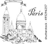vector illustration paris.... | Shutterstock .eps vector #495296257