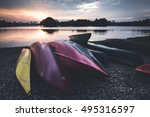 Colorful Kayaks Shot In...