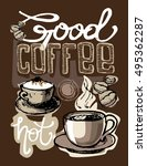 coffee collection   hand drawn... | Shutterstock .eps vector #495362287