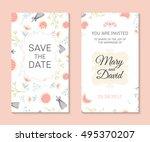 wedding set. romantic vector... | Shutterstock .eps vector #495370207