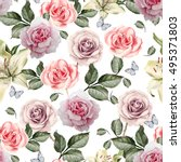 pattern with watercolor... | Shutterstock . vector #495371803