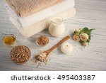 body scrub  honey and milk on... | Shutterstock . vector #495403387