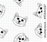 Stock vector seamless pattern with hand drawn cats cat cute cat cat wallpaper cat drawing cat tattoo cat 495444187