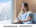young beautiful blonde woman...   Shutterstock . vector #495459937
