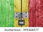 mali flag on door with padlock | Shutterstock . vector #495468577