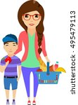 young woman with her son make a ... | Shutterstock .eps vector #495479113