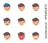 set of emoji  stickers. male... | Shutterstock .eps vector #495481873