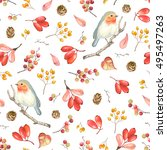 seamless pattern with bird... | Shutterstock .eps vector #495497263