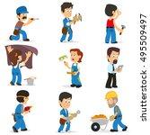 builders of different... | Shutterstock .eps vector #495509497
