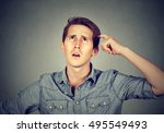 man scratching head  thinking... | Shutterstock . vector #495549493