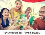 group of people dining concept | Shutterstock . vector #495550387