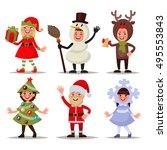 set of happy children dressed... | Shutterstock .eps vector #495553843