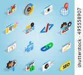 isometric seo set icons....