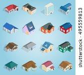 isometric cottage icons set....