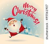merry christmas  vintage... | Shutterstock .eps vector #495561907