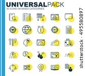 set of 25 universal icons on... | Shutterstock .eps vector #495580897