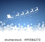 santa claus in sled rides in... | Shutterstock .eps vector #495586273