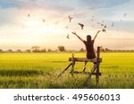 woman praying and free bird... | Shutterstock . vector #495606013