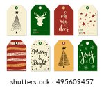 merry christmas and happy new... | Shutterstock .eps vector #495609457