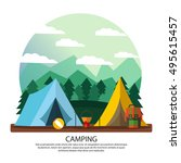 camping  hiking  vacation... | Shutterstock .eps vector #495615457