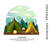 camping  hiking  vacation... | Shutterstock .eps vector #495615463
