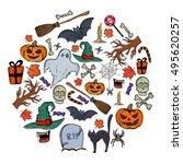 set of halloween icons in... | Shutterstock .eps vector #495620257