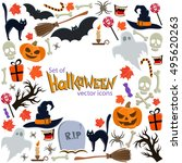 background of halloween icons... | Shutterstock .eps vector #495620263