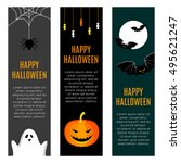 set of three halloween banners. ... | Shutterstock .eps vector #495621247