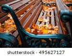 many of benches in autumn park... | Shutterstock . vector #495627127