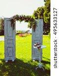 open doors decorated with... | Shutterstock . vector #495633127