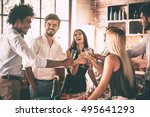 meeting with old friends.... | Shutterstock . vector #495641293