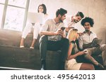 digital age students. group of...   Shutterstock . vector #495642013