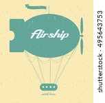 vintage fairy airship. vector... | Shutterstock .eps vector #495643753