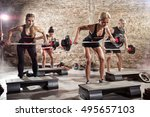 sporty people doing exercise... | Shutterstock . vector #495657103
