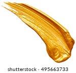 golden paint stroke isolated on ... | Shutterstock . vector #495663733