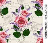 seamless floral pattern with... | Shutterstock .eps vector #495664213
