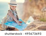 girl child with map and travel... | Shutterstock . vector #495673693