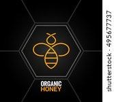 bee logo on honeycomb...   Shutterstock .eps vector #495677737