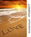 Love Word On Sea Beach On...