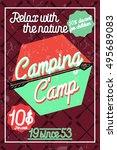 color vintage camping poster   Shutterstock .eps vector #495689083