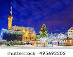 christmas market in tallinn ... | Shutterstock . vector #495692203