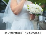 a young bride waiting for the... | Shutterstock . vector #495693667