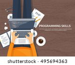 programming and coding... | Shutterstock .eps vector #495694363