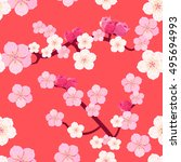 seamless pattern of japanese... | Shutterstock .eps vector #495694993