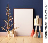 christmas mockup poster in the... | Shutterstock . vector #495696247