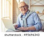 handsome old man dressed in... | Shutterstock . vector #495696343